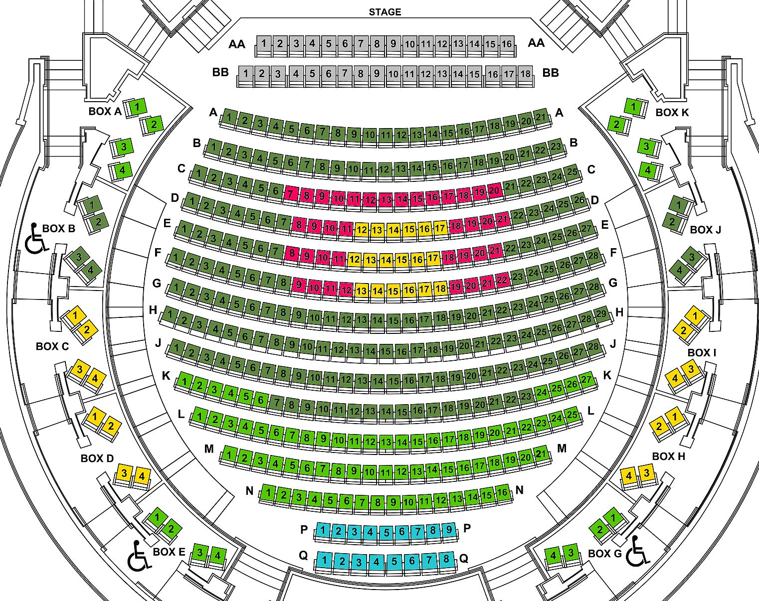 Seating Chart Breakdown for the show displaying the VIP, Premium, Preferred, General, and Limited Offer seating areas for the show on June 15.