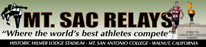 2019 Mt .SAC Relays Event Banner - Where the World's Best Athletes Compete